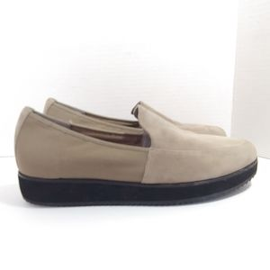 "Eileen Fisher taupe ""dell"" suede platform loafers"